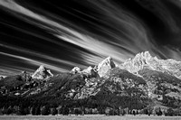 Tetons & Clouds - Black & White